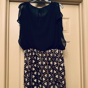 Dress with loose top and pencil skirt